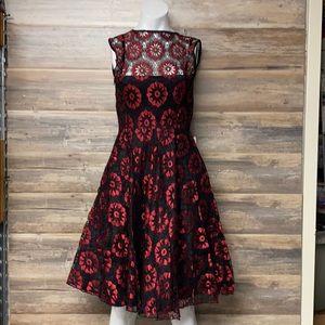 Voodoo Vixen Crimson Lace Sleeveless Flare Dress